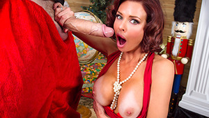 'Twas the night before Christmas, and all through the house, Veronica Avluv was missing her spouse. Her big tits were stuffed in her tight dress with care, in hopes that a big dicked stud soon would be there. When a robber came down through the chimney th