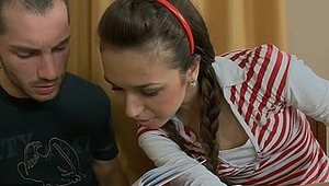 This stunning brunette teen should learn her history lesson, but this horny stud doesn't intend to help this beauty with her homework. He is here just to stuff this beautiful teen pussy with his huge meat stick, and to fuck it as hard as it's possible. In