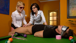 2 horny girls punish a guy who lost money at pool billiards