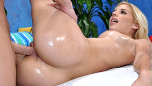 Sexy 18 year old Carmen Monet gets fucked hard from behind by her massage therapist