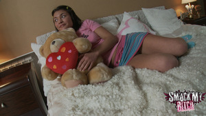 Melana is resting in the bedroom with a smile on her face because her man is coming over to give her young body the joy it needs. He undresses her with ease and after rubbing her clit a bit he makes the slut go down on him. He wants a blowjob and she can