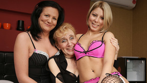 Three old and young lesbians making each other wet