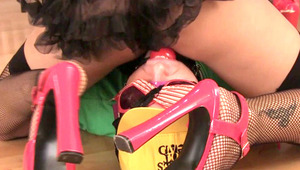 Two young dominatrixes whip a guy's cock and then tease it with a penis pump just for fun