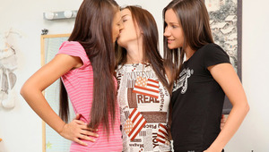 Malisha, Ashlie and Martha - Innocent teens Martha in pink top, Malisha in white top, and Ashlie in black tee shirt, strip off their clothes while rubbing one anothers' tight bodies an making out in the bedroom. They go down on one another and lustil
