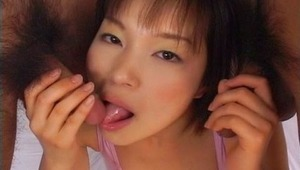 Catch Mana Iizuka in provocative three-some action. Exciting bukkake action is sure to follow when Mana Iizuka gets her hands on two cocks. Mana Iizuka follows up her wonderful blowjobs and handjobs with provocative rear entry action. Cute Mana Iizuka jus