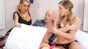 Johnny Sins and Mia Malkova headed to Devon's hotel in order to celebrate their one year anniversary in private. Mia starts by sucking Johnny's dick, but his cock is so huge that she can barely handle the whole thing! Hotel manager Devon has been watching