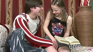This adorable teen cutie has had a hard time with her homework but her tutor wants to give her something even harder. She goes from studying books to sucking cock and even gets her tight little cunny stuffed with cock. Then he teaches her how to take a bo