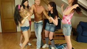 Crazy CFNM action in a student dorm with 18yo teen girls!