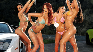 Pull your rig off in the lot, because all your favorite Brazzers babes are running a slutty car wash today! Picture four of our hottest, bubbliest babes slipping and sliding over big, dirty sports cars til they sparkle. It's too hot out for the ladies to