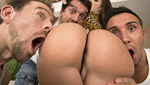 Jada Stevens is so horny that one or two cocks won't cut it.  She's been craving sex all day and decides it's time to do something about it. This bouncy little hottie needs dick stuffed in every hole, and Erik, Keiran, and Ramon are just the men for the j