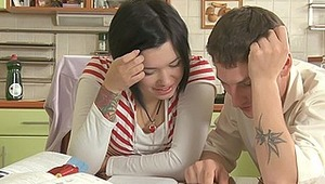 This fuckingly hot teen beaut thinks that it's really boring to study English... After trying to learn some English verbs, Jade's classmate starts pawing her. How do you think, do Jade's parents know what this couple is doing behind the closed door? This