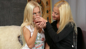 Masha and Nichol - Angelic teens Masha, white shirt and Nichol, black sweater, passionately kiss and fondle each other's tight bodies in the living room, then they strip naked and Nichol goes down on Masha to tenderly lick and finger her sweet, shave