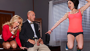 Professor Johnny Sins is always getting in trouble with the Dean for fucking every young slut he can get his hands on, so he was doing his best to be subtle when he met Chase Ryder in the bathroom for a quickie. But when the stall door opened and none oth