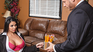 Mr. Mountain is fed up with his assistant Missy. She doesn't listen, and she can't concentrate. Looks like it's time for Danny to teach her how to follow orders. But big-titted Missy has some orders of her own, and it's time for Danny to get to work...