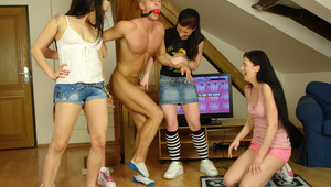 Dressed college sluts fucking a guy after the dance game