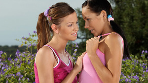 Devin and Juliette - Luscious teens Devin, darker hair and Juliette make out and caress outside on a patio, then strip off their tops and rub and suck each other's perfect tits and hard nipples. They take off their panties and Devin goes down on a sp