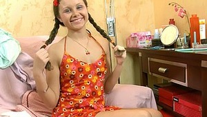 Dulce's name means 'sweet' and this beautiful teen is really well named. Look at this smiling and sensual teen babe who loves playing with her body and please it using various sex toys. Her pussy willingly accepts the playful fingers and then gladly welco