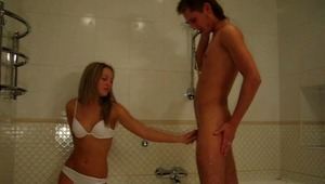 You are going to witness explicit amateur xxx video. The boy was taking a shower when his girlfriend came. She started touching and jerking his cock before giving a head. She seems to be very lustful and want to have a lot of pleasure. The boy fucks her r