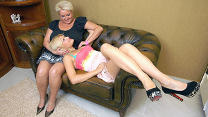 Hot old and young lesbian couple do it on the couch