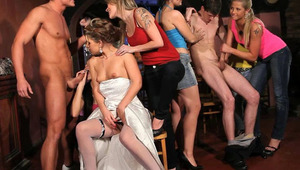 Prague CFNM bachelorette party with 6 young and horny girls and 2 males