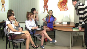 Unforgettable CFNM anatomy class with five cock-starved schoolgirls