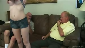 Dick and Rod are two lecherous old goats that will do, say, and pay just about anything to get fresh faced Faye to fondle them. Flirting finally freezes her fears, opens up her mouth, and her snatch to their pay for play offers. Cum and watch this hottie