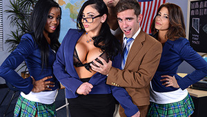 "No one says ""no"" to Ms. Bitoni, the sluttiest teacher in school. When she sets her mind on a young stud, she does whatever it takes to pull him apart from the pack and get a shot at his dick. Poor guy can't focus on answering her questions with her big ti"