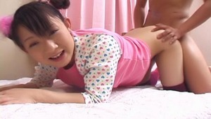 What a cute Asian teen this babe Ami Kago is as she has a sweet face and a beautiful slim body with nice small tits and a juicy round ass that you will see her bouncing all over the place as she gets absolutely pounded in her tight pussy from behind!