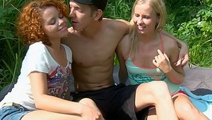 It's a sunny, hot day and it's perfect for an outdoor hardcore threesome. Two staggeringly beautiful young ladies and one lucky man get it on and he has his way with their bodies in his quest for sexual release. He gets to use his fat cock to fuck their c